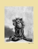 Charcoal Monkey - Cream Canvas Wall Art
