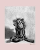 Charcoal Monkey - Pink Canvas Wall Art
