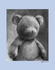 Charcoal Teddy - Blue Canvas Wall Art