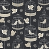 Charcoal Vintage Birdcage Wallpaper