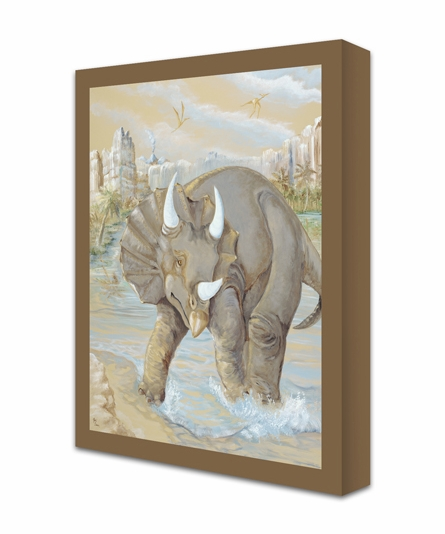Charging Triceratops Canvas Reproduction