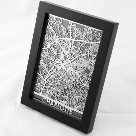 Charlotte Stainless Steel Framed Map