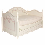 Charlotte Twin Day Bed in Linen with Ribbons and Roses Motif and Floret Knobs