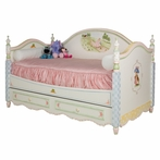Charlotte Twin Daybed in Tone on Tone Crackle with Enchanted Forest Motif