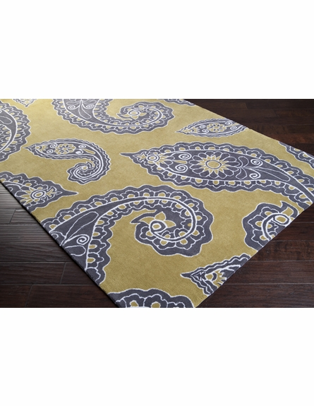 Chartreuse and Charcoal Paisley Hudson Park Rug