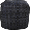 Checkerboard Pouf in Dark Navy