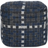 Checkerboard Pouf in Gray and Blue