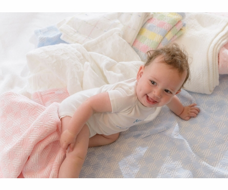 On Sale Checkmate Baby Blanket - Pale Pink