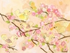 Cherry Blossom Birdies Butter Cream Canvas Wall Art