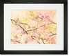 Cherry Blossom Birdies Butter Cream Framed Art Print