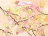 Cherry Blossom Birdies Cream Personalized Canvas Wall Art
