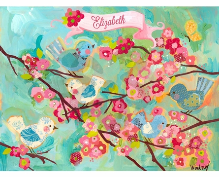 Cherry Blossom Birdies Framed Art Print
