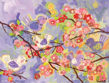 Cherry Blossom Birdies Lavender and Coral Mural Banner