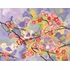 Cherry Blossom Birdies Lavender and Coral Canvas Wall Mural