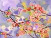 Cherry Blossom Birdies Lavender Canvas Wall Art
