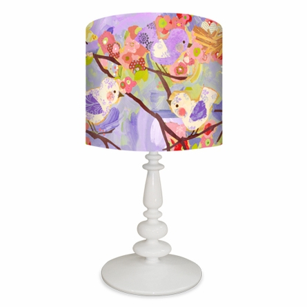 Cherry Blossom Birdies Lavender & Coral Lamp