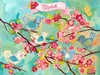 Cherry Blossom Birdies Personalized Canvas Wall Art