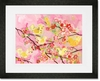 Cherry Blossom Birdies Pink & Yellow Framed Art Print