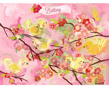 Cherry Blossom Birdies Pink Amp Yellow Framed Art Print By