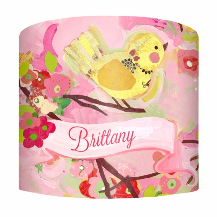Cherry Blossom Birdies Pink & Yellow Lamp