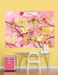 Cherry Blossom Birdies Pink & Yellow Mural Wall Decal