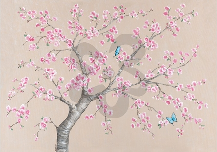 Cherry Blossoms and Butterflies Canvas Wall Art
