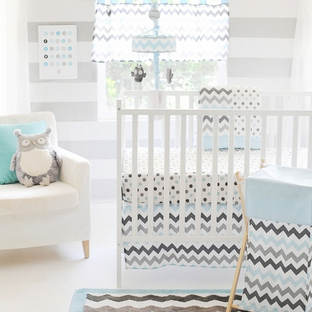 Chevron Baby Crib Bedding Set in Aqua