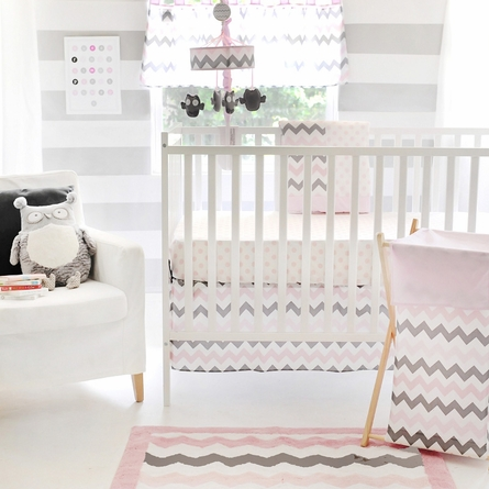 Chevron Baby 3-Piece Crib Bedding Set in Pink