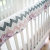 Chevron Baby Crib Rail Cover in Pink