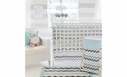 Chevron Baby Polka Dot Crib Sheet in Aqua