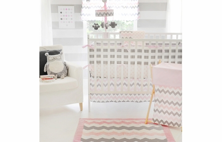 Chevron Baby Polka Dot Crib Sheet in Pink