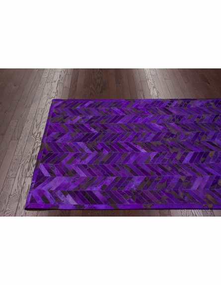 Chevron Cowhide Rug in Grape