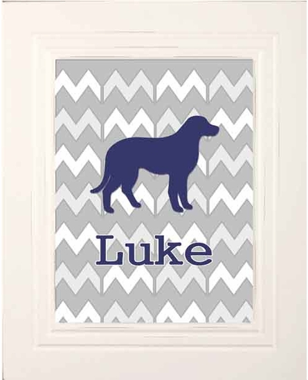 Chevron Dog Framed Art