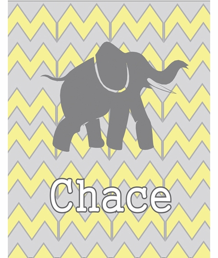 Chevron Elephant Framed Art
