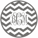Chevron Interlock Single Color Monogram Car Decal