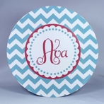 Chevron Scalloped Personalized 3-Piece Dinnerware Set