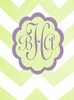 Chic Chevron Monogram Stretched Canvas Art - Green and Lavender
