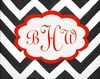 Chic Chevron Monogram Stretched Canvas Art - Red Black and White