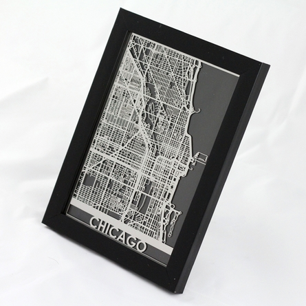 Chicago Stainless Steel Framed Map