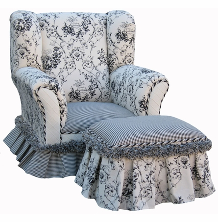 Child Wingback Chair - Toile Black