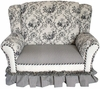 Child Wingback Loveseat - Toile Black