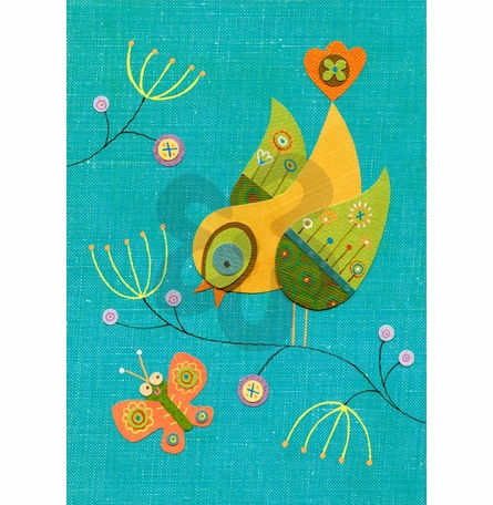 Chirping Conversation Canvas Reproduction
