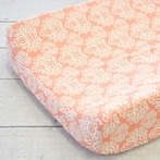 Chloe's Coral Damask Changing Pad Cover