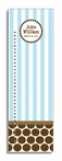 Chocolate Dot & Blue Stripe Personalized Growth Chart
