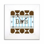 Chocolate Dot & Blue Stripe Wall Clock in Wide Frame