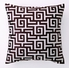 Chocolate Greek Key Embroidered Pillow