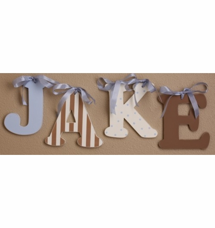 Chocolate Stripe Wooden Mix & Match Wall Letter