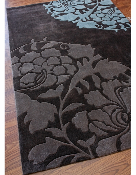 Cine Floating Flower Rug in Chocolate