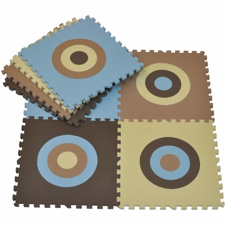Circles Squared Playmat in Blue and Khaki