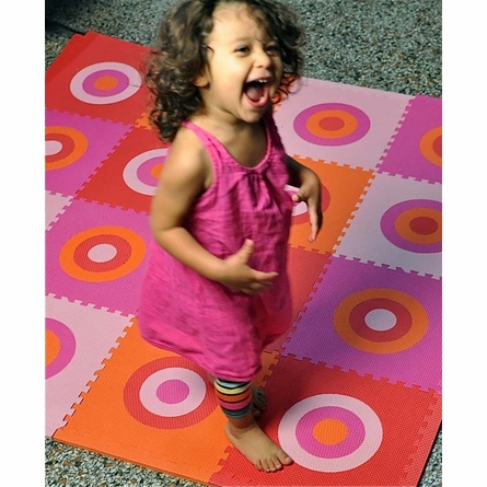Circles Squared Playmat in Pink and Orange